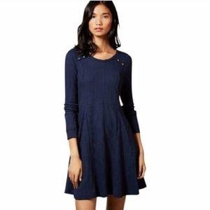 Anthropologie Eloise Chiara Navy Thermal Dress